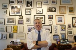 Chicago businessman Chris Kennedy, poses for a portrait in his office Wednesday, Feb. 8, 2017, in Chicago. Kennedy, the son of the late Sen. Robert F. Kennedy Jr., says he will run for Illinois governor in 2018. His bid brings the instant name recognition of his family's political legacy to what will likely be a sharply contested race to unseat Republican Gov. Bruce Rauner. (AP Photo/Charles Rex Arbogast)