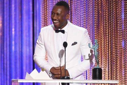 "Mahershala Ali accepts the award for outstanding performance by a male actor in a supporting role for ""Moonlight"" at the 23rd annual Screen Actors Guild Awards at the Shrine Auditorium & Expo Hall on Sunday, Jan. 29, 2017, in Los Angeles. (Photo by Chris Pizzello/Invision/AP)"