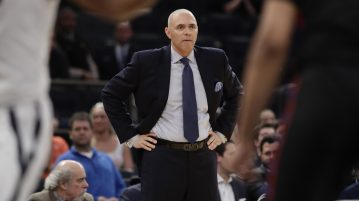 DePaul coach Dave Leitao watches his team play during the first half of an NCAA college basketball game against Xavier during the Big East men's tournament Wednesday, March 8, 2017, in New York. (AP Photo/Frank Franklin II)