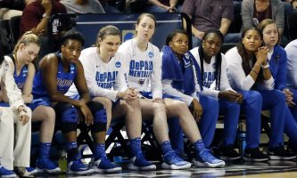 DePaul players watch from the bench as they lose their second-round game against Mississippi State, 92-71, in the women's NCAA college basketball tournament in Starkville, Miss., Sunday, March 19, 2017. (AP Photo/Rogelio V. Solis)