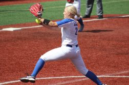 Junior pitcher Kayla Landwehrmier pitched five innings in relief in DePaul's opening loss. (Caroline Stacey | The DePaulia)