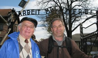 "Jack (left) is a Holocaust survivor who will visit DePaul April 24 with his son and creator of ""Surviving Skokie"" and Eli Adler."