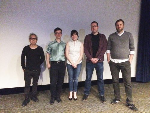 (Left to right) Shiro Akiyoshi, Tobias Frere-Jones, Heather Quinn, Nate Matteson and Lee Zelenak pose after DePaul's Visiting Designer Series.  (Kaitlyn Roberts / The DePaulia)