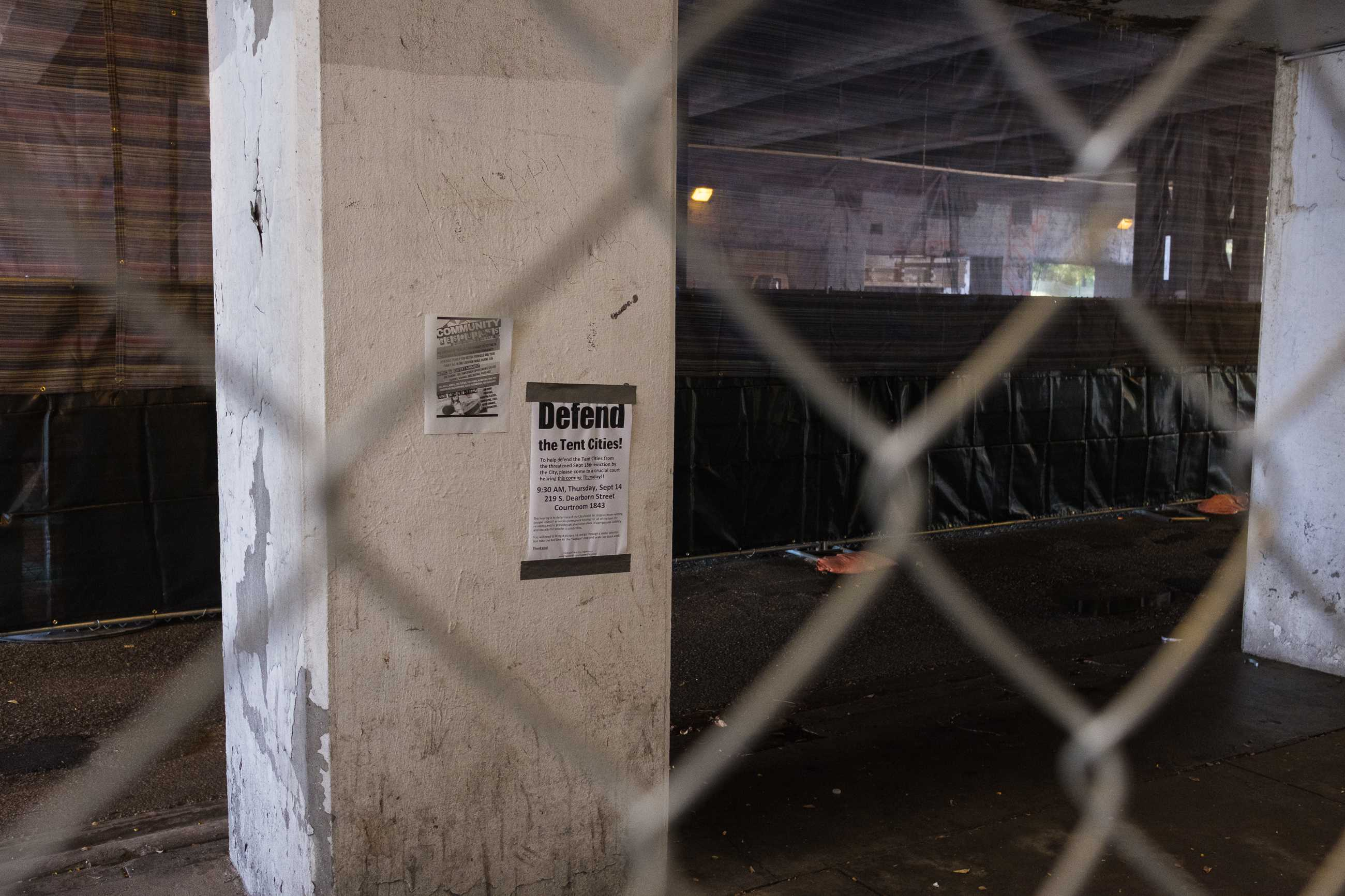 Remnants of the fight to allow the homeless to stay in the viaduct are still visible.  (Photo courtesy of Vincent Prochoroff)