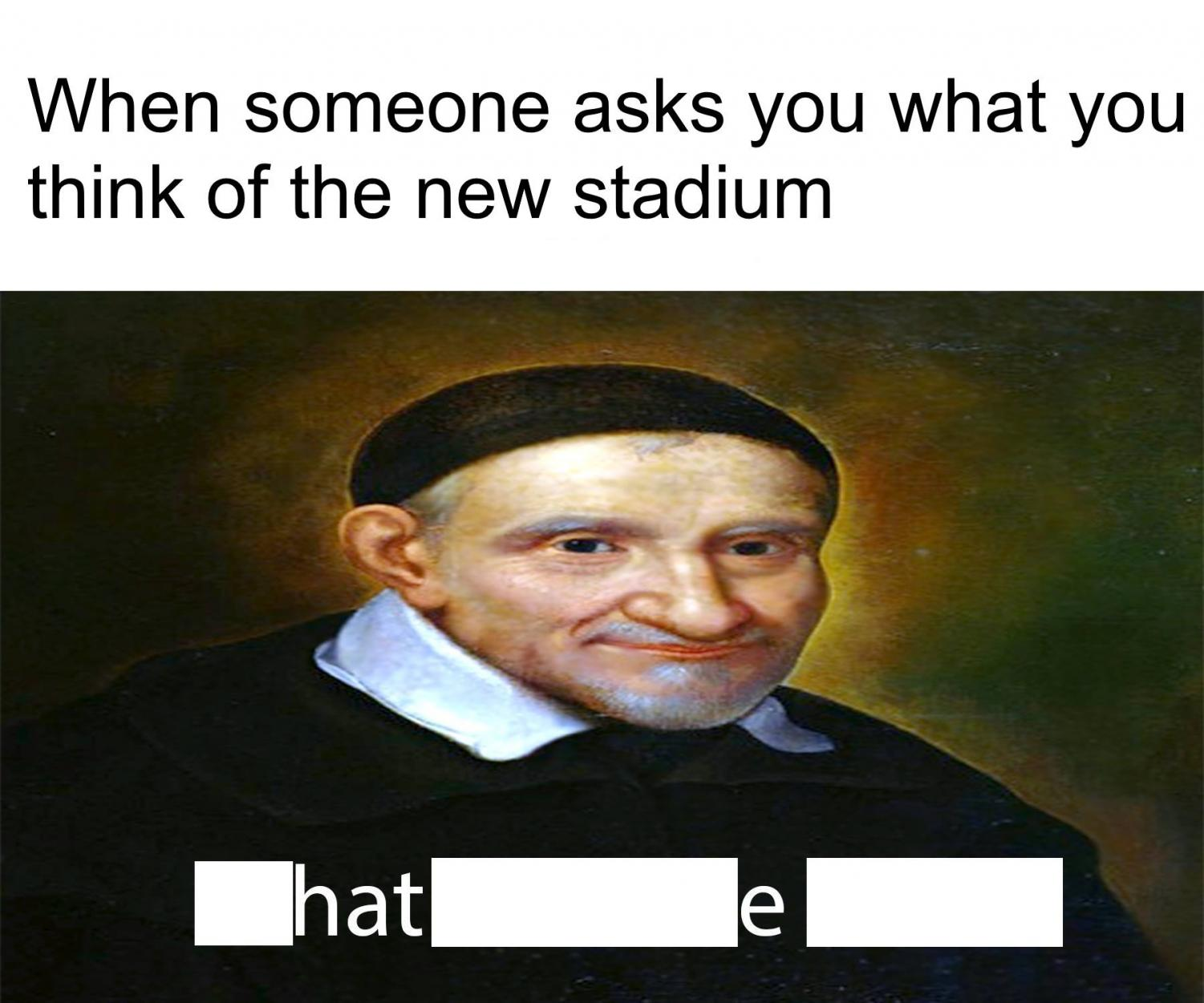 An example of one of the memes shared, using the Vincentian question to mock the arena. (Photo courtesy of Patrick Kunst)