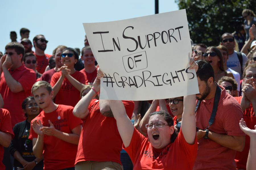 Graduate students at the University of Missouri during a 2015 protest where students supported the unionization route.  (Photo courtesy of The Maneater)