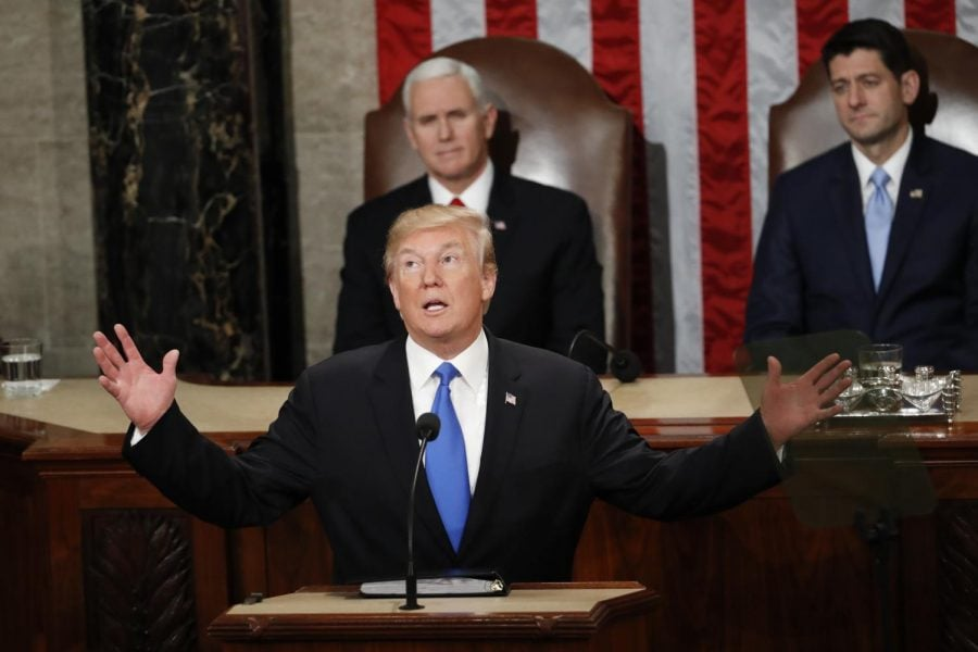 President+Trump+stuck+to+his+script+and+promoted+his+%E2%80%9CAmerica+First%E2%80%9D+policies.%0A%28Photo+courtesy+of+the+Associated+Press%29