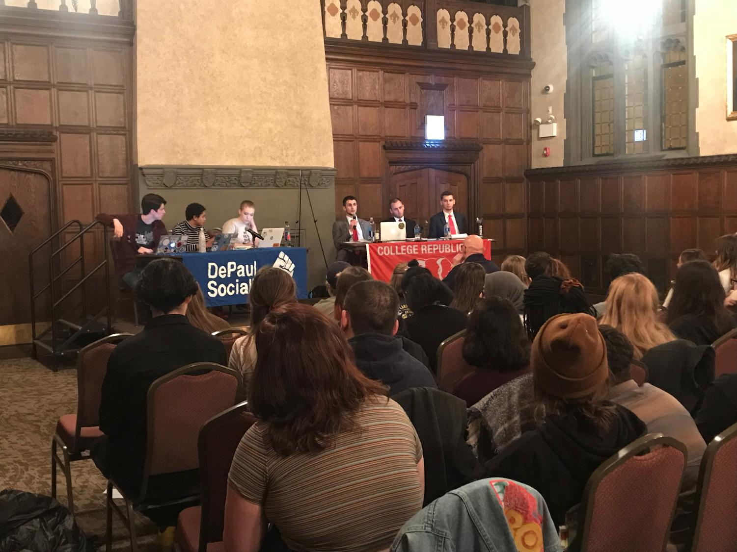 The DePaul Socialists challenged the DePaul College Republicans to a public debate after controversial author Charles Murray spoke on campus in November 2017. (Amber Colón | The Depaulia)