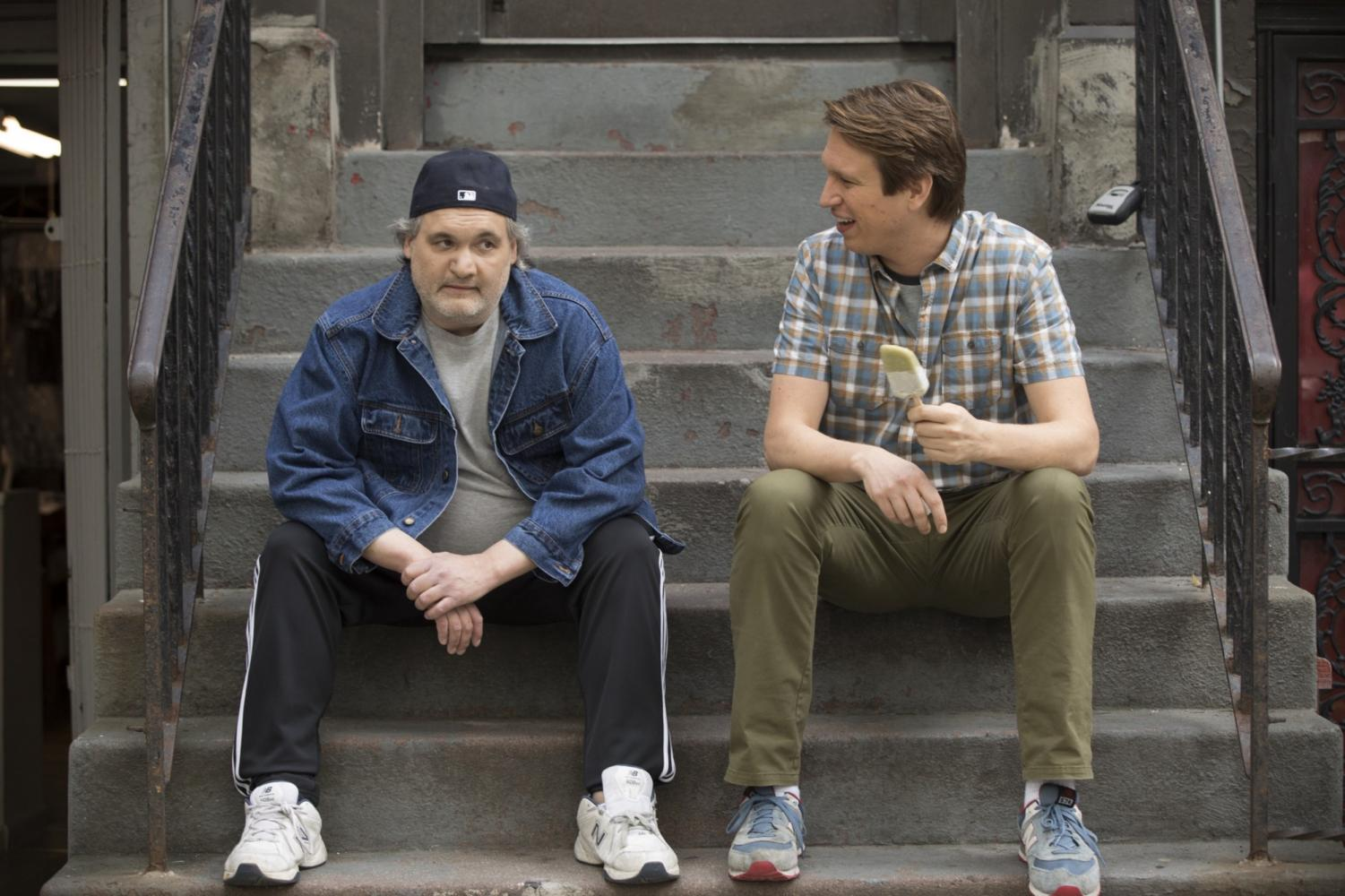 Recurring guest star Artie Lange and Holmes in a topical episode about Lange's substance abuse in season two episode