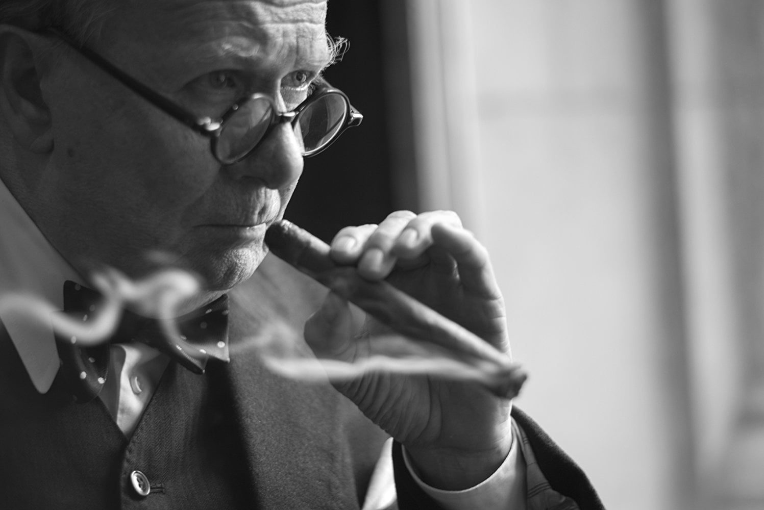 Gary Oldman underwent a dramatic transformation to take on the role of Winston Churchill, often spending multiple hours getting makeup and prosthetics applied.  (Photo courtesy of IMDB)
