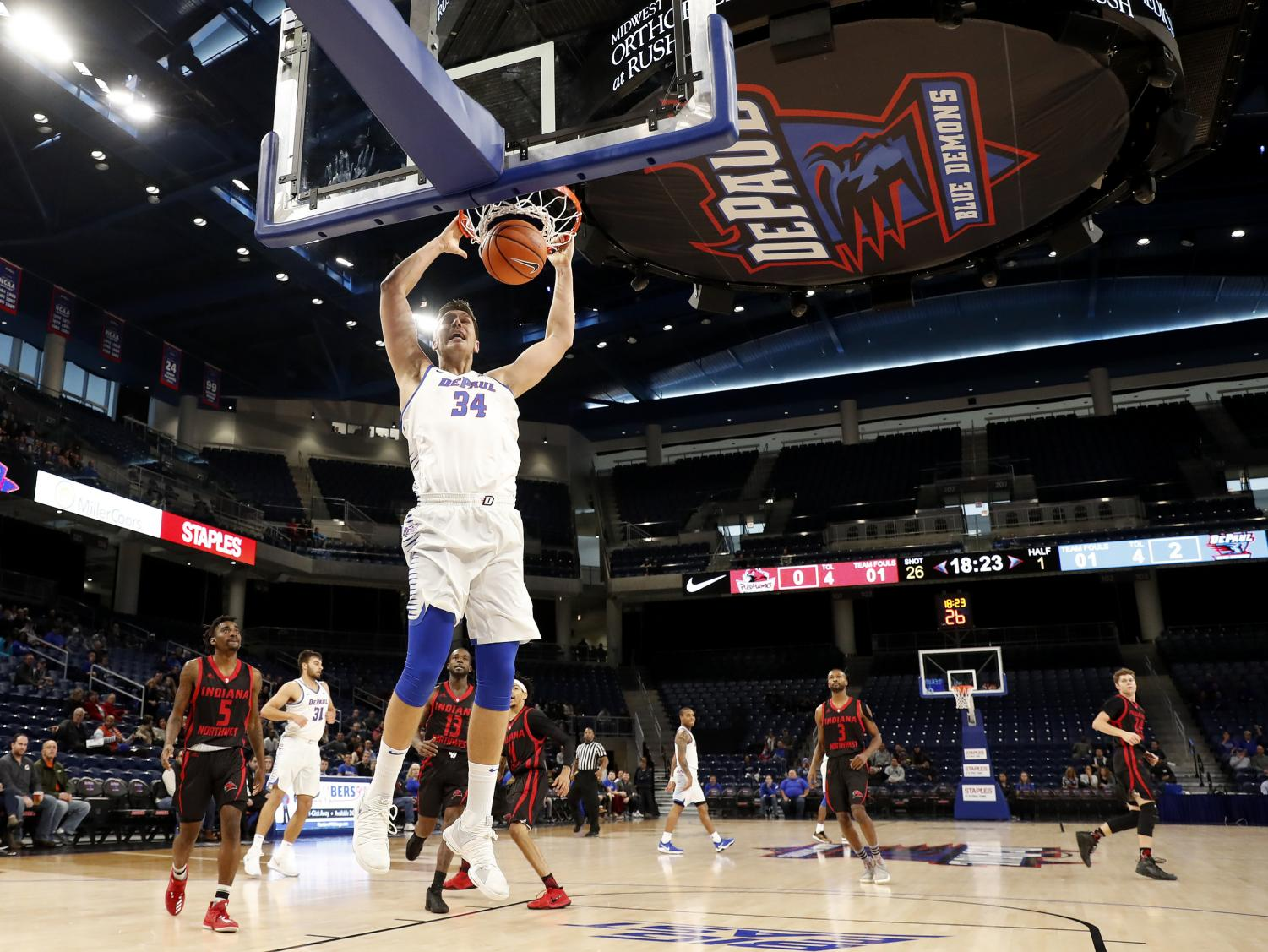 Marin Maric throws down a dunk in DePaul's preseason exhibition game.  (Photo courtesy of DePaul Athletics)
