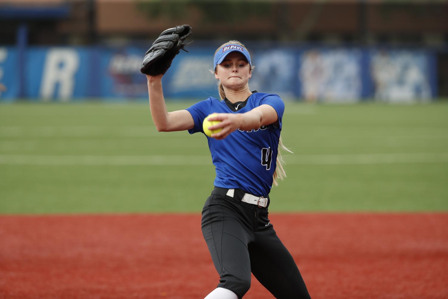 DePaul's freshman pitcher Pat Moore delivers a pitch at Cacciatore Stadium early this season. Through 93 innings pitched, the Oregon native leads the team with 121 strikeouts. (Steve Woltmann | DePaul Athletics)