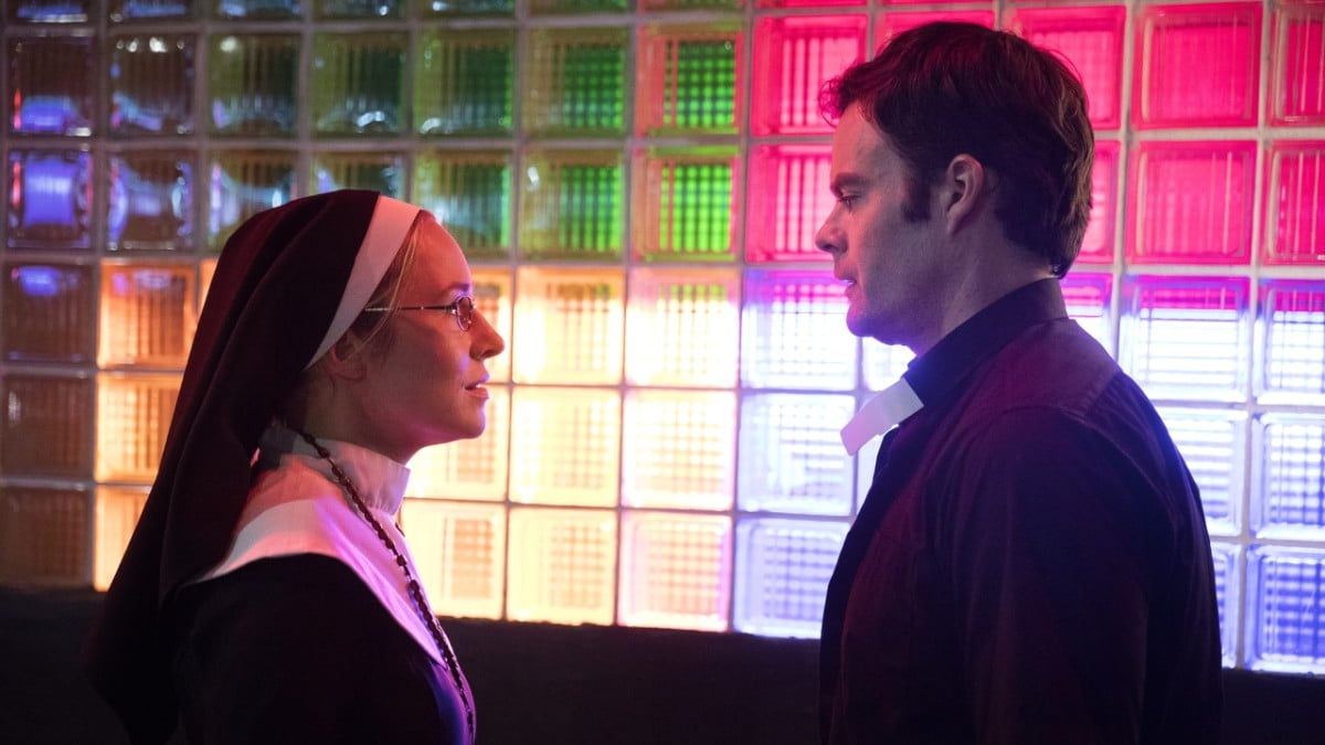 Bill Hader and Sarah Goldberg, who plays his main love interest Sally Reed, in a scene dressed as Meryl Streep and Philip Seymour Hoffman from the film