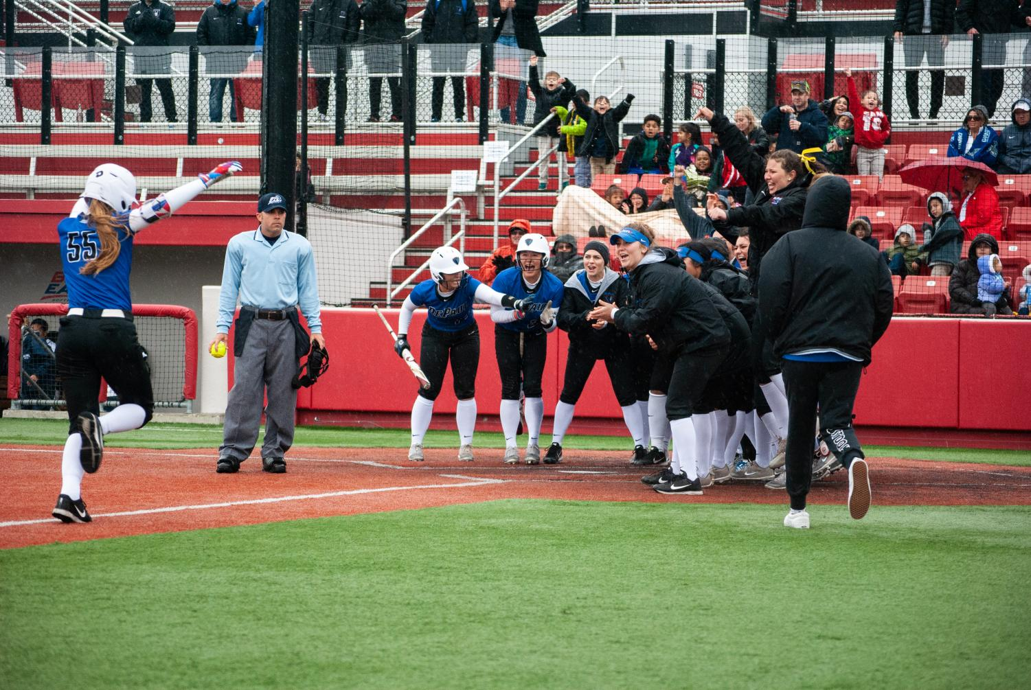 Angela Scalzitti's home run in the third inning gave DePaul a 7-2 lead.  Jonathan Aguilar | The DePaulia