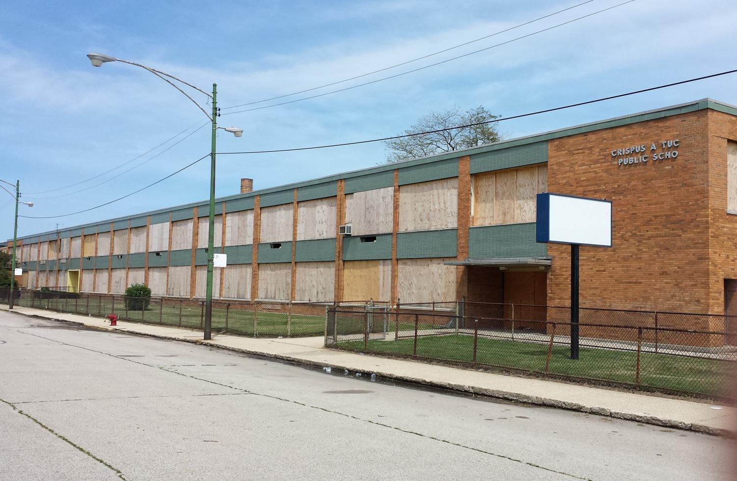 The shuttered Crispus Attucks Public School in the Bronzeville neighborhood was closed in 2008 and has remained empty ever since. (Photo courtesy of steven kevil | wikimedia commons)