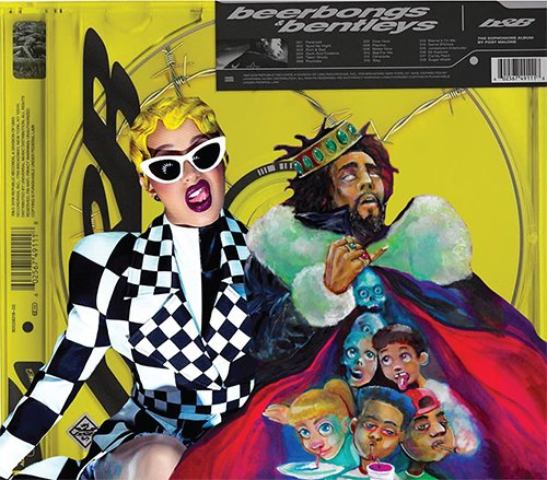 Cardi B, J. Cole and Post Malone all released new, very different, albums in April.  (Graphics by Victoria Williamson | The DePaulia)