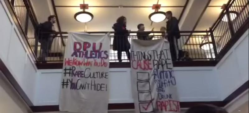 DePaul students raise sexual assault awareness with banner in Arts and Letters