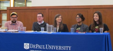 Two CPS students and authors sit in at the  university hosted panel to discuss banned books and the issue of censorship on Wednesday night. (Dylan Fahoome / The DePaulia)