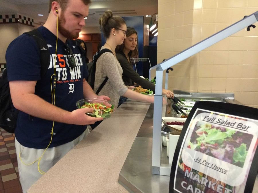 DePaul students get food in the dining area at the DePaul Center in the Loop.