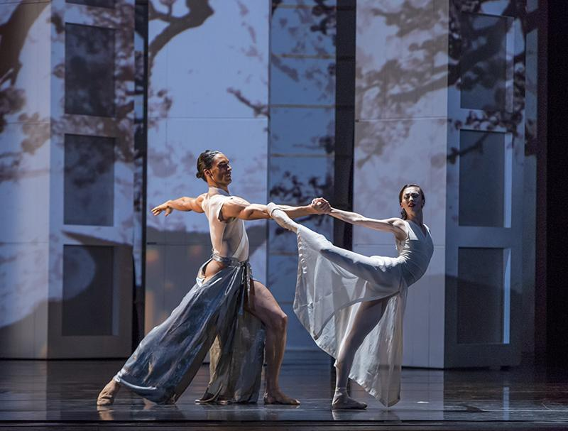 """Fabrice Calmels as the Samurai and Victoria Jaiani as the Princess in """"RAkU"""" from the Joffrey Ballet's """"Stories in Motion."""" (Photo courtesy of Cheryl Mann)"""