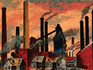 "Harry Sternberg, ""Steel Mills (Smoke Stacks),"" 1937. Screenprint. Collection of the DePaul Art Museum, gift of Belverd Needles Jr. and Marian Powers Needles. (Photo courtesy of DePaul Art Museum)"