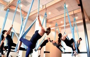 Residents participate in Airfit, an acrobatic-based workout. Founded in Chicago, Airfit is offered in Lincoln Park and River North. (Photo courtesy of Airfit)