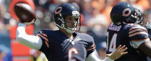 Chicago Bears quarterback Jay Cutler threw two game-changing interceptions in Week One. (AP Photo)