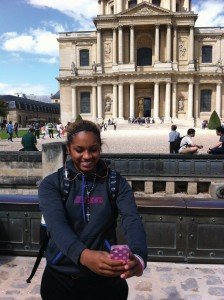Chanise Jenkins takes a picture of herself in France. (Photo courtesy of DePaul Athletics)