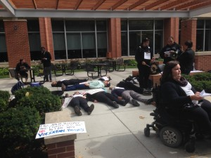 DePaul students during protest outside of Arts & Letters Hall Tuesday, Sept. 30.
