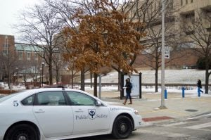A DePaul Public Safety sits on campus by The Quad last winter. (DePaulia File Photo)