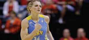 Chicago Sky guard and former Blue Demon Allie Quigley celebrates after she scored a basket. (AP Photo)