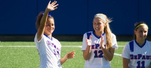 DePaul senior defender Sarah Gorden waves to the crowd at Wish Field on senior day. Gorden anchored a defense that allowed just two shots in a 1-0 win over Xavier. (Grant Myatt / The DePaulia)