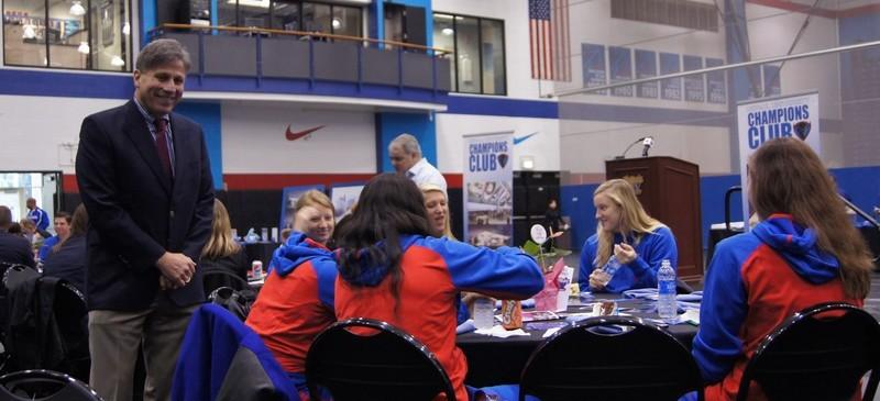 Coach+Doug+Bruno+of+DePaul+women%27s+basketball+at+the+annual+Tip-Off+Luncheon.+%28Parker+Asmann+%2F+The+DePaulia%29