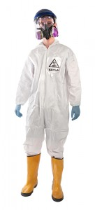 This Ebola costume is complete with a respirator, gloves and yellow boots. (Brands On Sale, Inc. |AP)