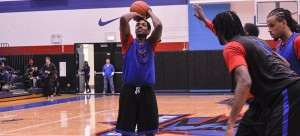 DePaul forward Myke Henry shoots a free throw at Saturday's scrimmage between the men's basketball team at McGrath-Phillips Arena. (Maggie Gallagher / The DePaulia)
