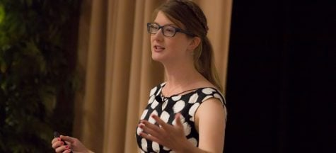 Emily Graslie speaks about women in the STEM fields in the Student Center on Monday. (Julian Hayda / The DePaulia)