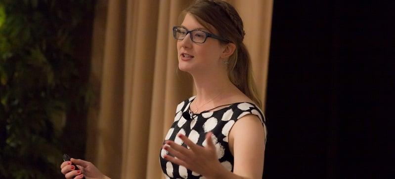 Emily Graslie speaks about women in the STEM fields in the Student Center on Monday. (Julian Hayda / The DePaulia)