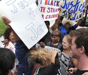 People rejoice after Dunn was found guilty for murdering unarmed African-American  teenager Jordan Davis. The verdict was made Oct. 1. Photo courtesy BRUCE LIPSKY    AP
