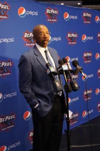 Men's basketball head coach Oliver Purnell addresses the media. (Parker Asmann / The DePaulia)