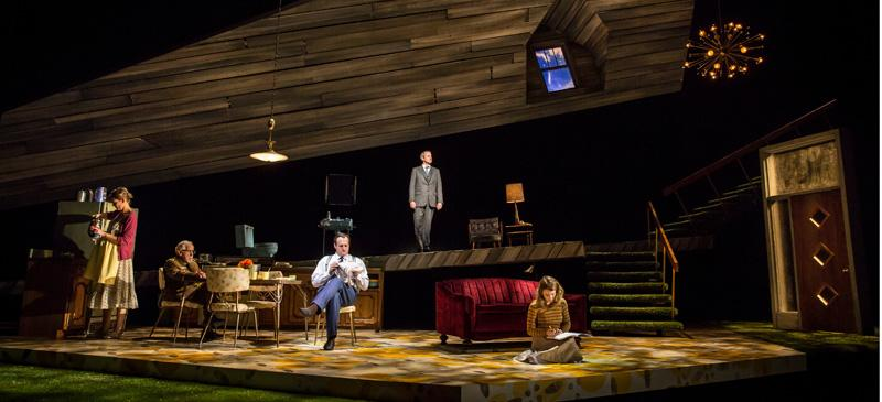 """Katherine Keberlein (Violet), Mike Nussbaum (Colonel), Eric Slater (Daniel), Guy Massey (Footnote) and Catherine Combs (Beauty) in Noah Haidle's """"Smokefall"""" at Goodman Theatre. (Photo courtesy of Liz Lauren / Goodman Theatre)"""