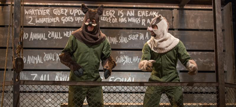 """Blake Montgomery and Sean Parris in Steppenwolf Theatre for Young Adult's adaptation of George Orwell's """"Animal Farm."""" (Photo courtesy of Michael Brosilow 