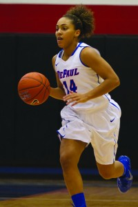 DePaul sophomore Jessica January is a key part of DePaul's guard rotation. (Grant Myatt / The DePaulia)