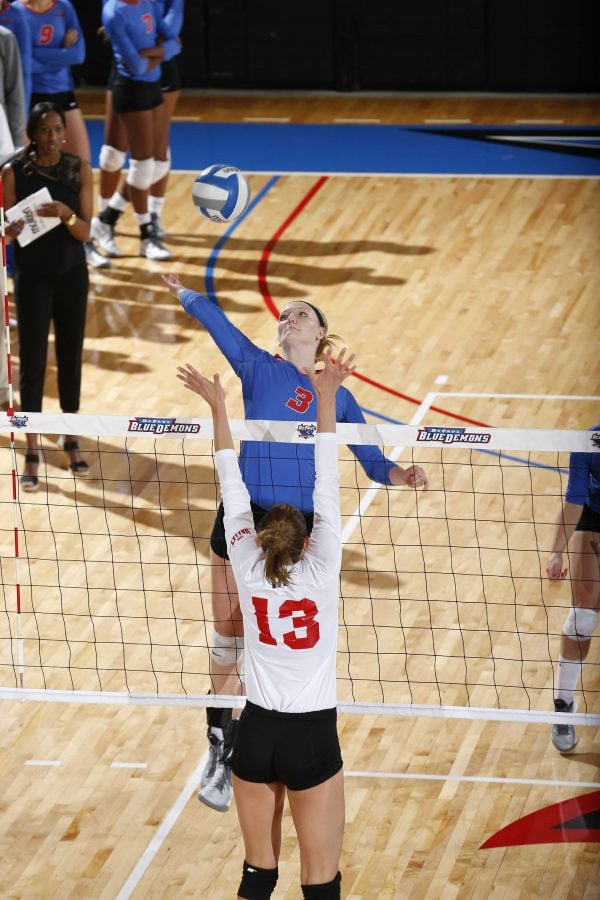 Freshman Rachel Breault rises up for a ball. DePaul fell to 3-24 with the St. John's loss. (Photo courtesy of DePaul Athletics)