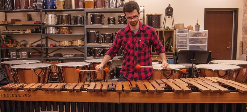 Bonnacci plays the marimba. Small repairs to percussion instruments are made on-site at the Music School, but they are sent out to be professionally tuned. (Maggie Gallagher / The DePaulia)