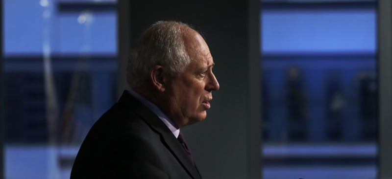 Illinois Gov. Pat Quinn addresses reporters as he concedes the election to Republican challenger Bruce Rauner during a news conference Wednesday, Nov. 5, 2014, in Chicago. Quinn took no questions. (AP Photo/Charles Rex Arbogast)