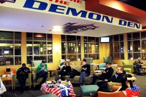 Students in the Demon Den in the Student Center for the SGA Election Night watch party