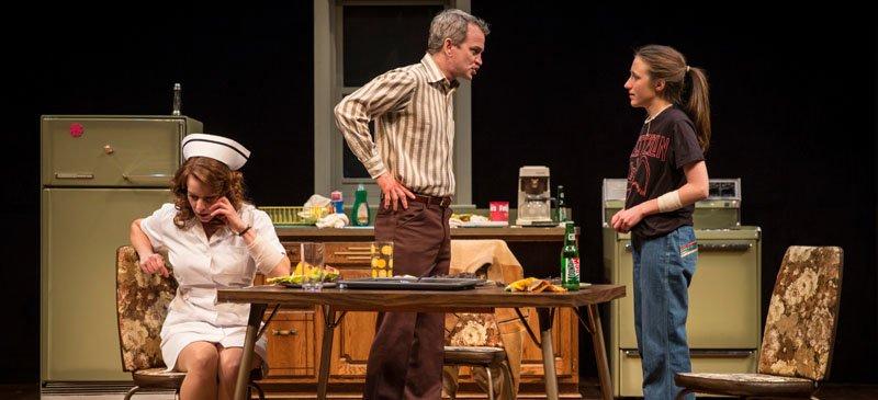 Melanie Keller (Carol), Steve Key (Arthur) and Olivia Cygan (Chris) in Charise Castro Smith's Feathers and Teeth, directed by Henry Godinez at Goodman Theatre. (Photo courtesy of Goodman Theatre)