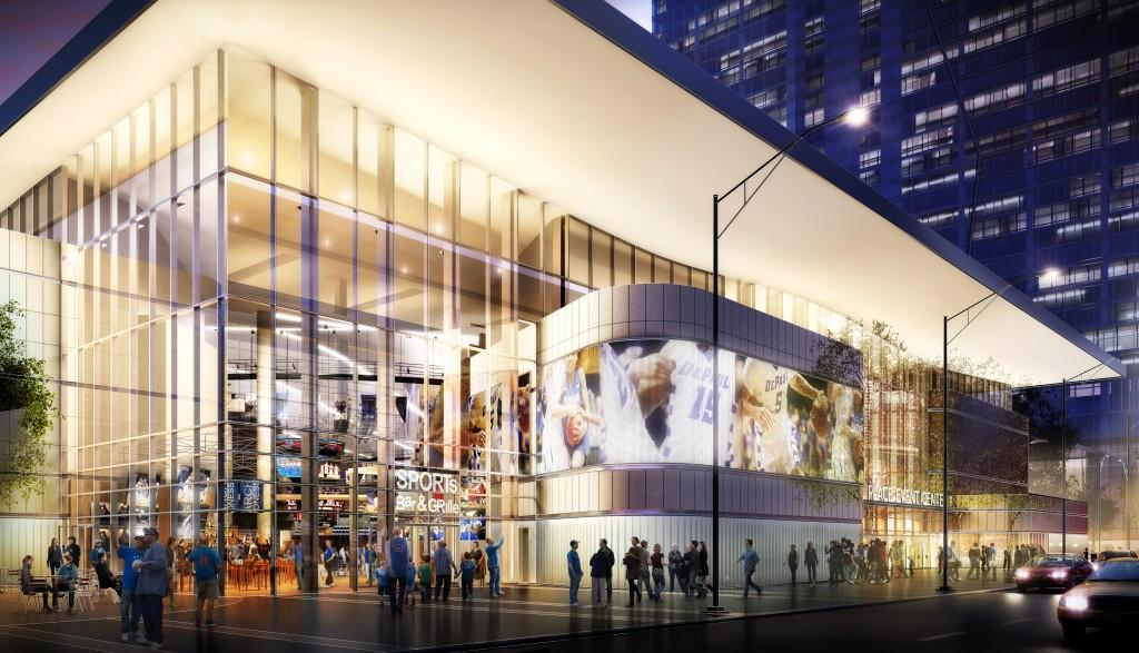 The latest rendering of DePaul's arena located in the South Loop. The project is now expected to cost $12.5 million more than previously planned, bringing DePaul's total cost to $82.5 million. (Photo courtesy of DePaul Athletics)
