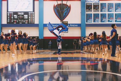 Both DePaul freshmen Henry Prado and Irvin Bello came to DePaul without the expectation of joining the cheerleading team. (Josh Leff / The DePaulia)