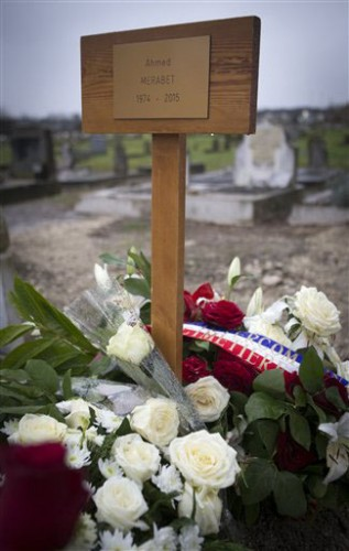 The grave of Ahmed Merabet, a Muslim policeman slain in the Charlie Hebdo attack. (Jacques Brinon | AP)